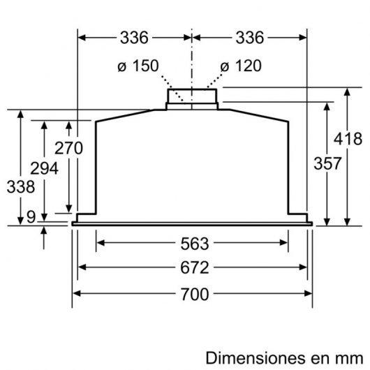 balay bfex campana integrable cm acero inoxidable especificaciones