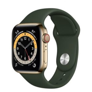 apple watch series  gps cellular mm acero inoxidable en oro correa deportiva verde chipre afcd a e a da