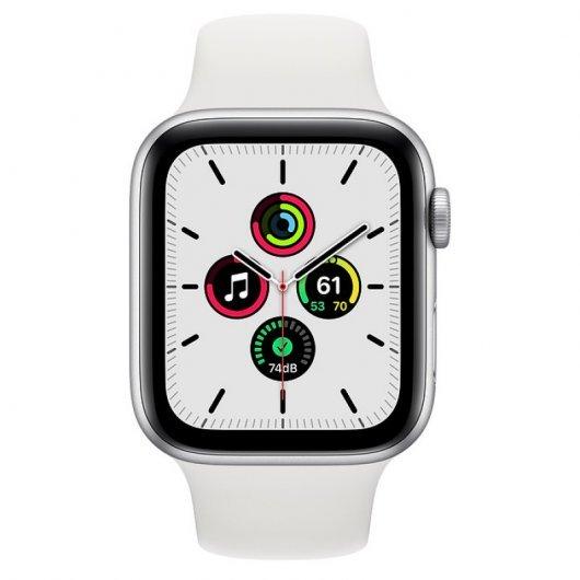 apple watch se gps mm aluminio en plata con correa deportiva blanca comprar
